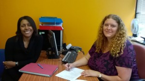 Jackie Hauxwell (l) and Sarah Robinson (r) from the Legal Service